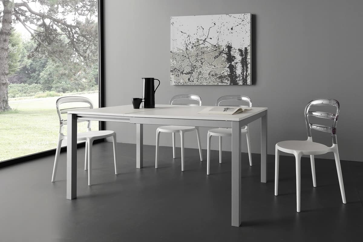 Art. 635 QD Majestic Quadro, Tavolo da cucina in legno e metallo, in stile moderno