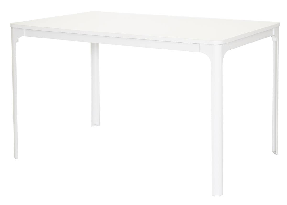 Tavolo in metallo con piano in laminato angoli stondati idfdesign - Tavoli da cucina design ...
