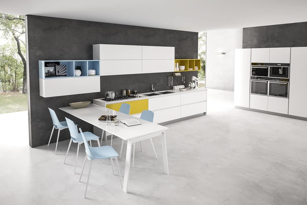 Tavolo penisola allungabile per cucine moderne idfdesign - Tavoli da cucina design ...