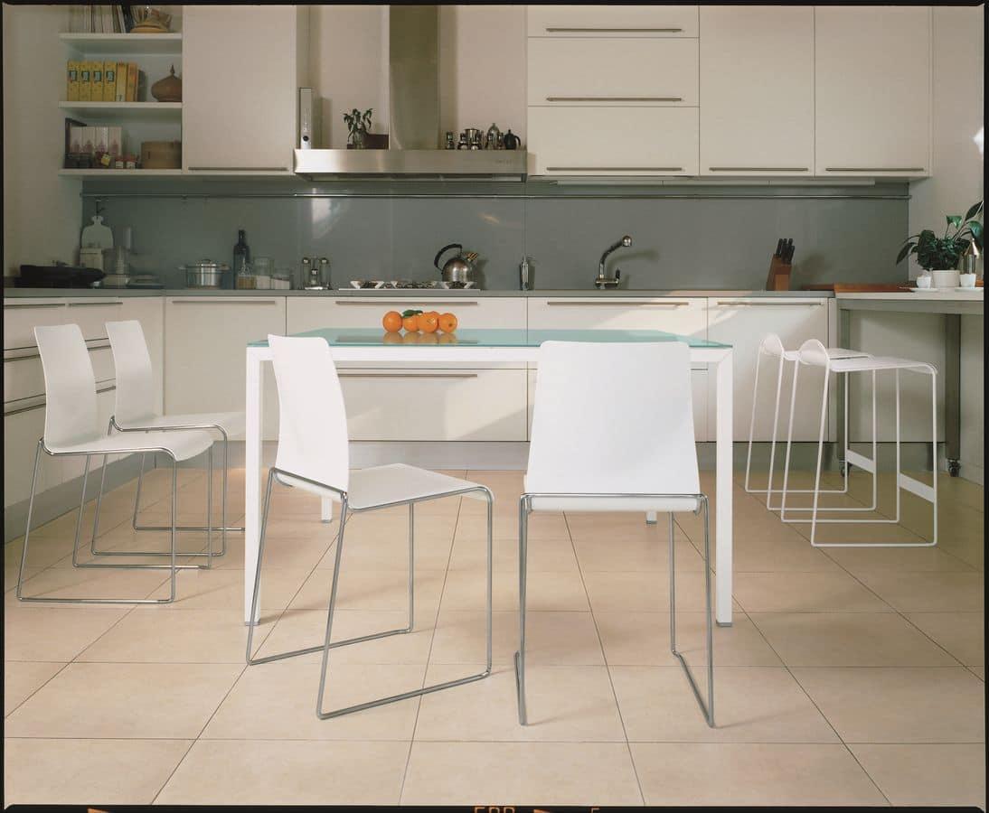 Tavolo in metallo cromato o laccato ideale per cucine moderne idfdesign - Tavoli da cucina design ...