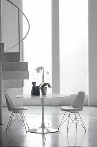 FLUTE TP116, Tavolo in metallo e legno per cucine moderne