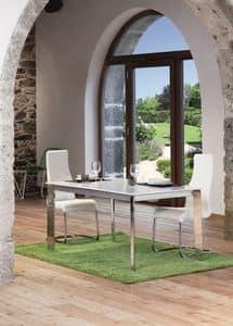 Konrad, Tavolo allungabile con piano in legno laccato bianco