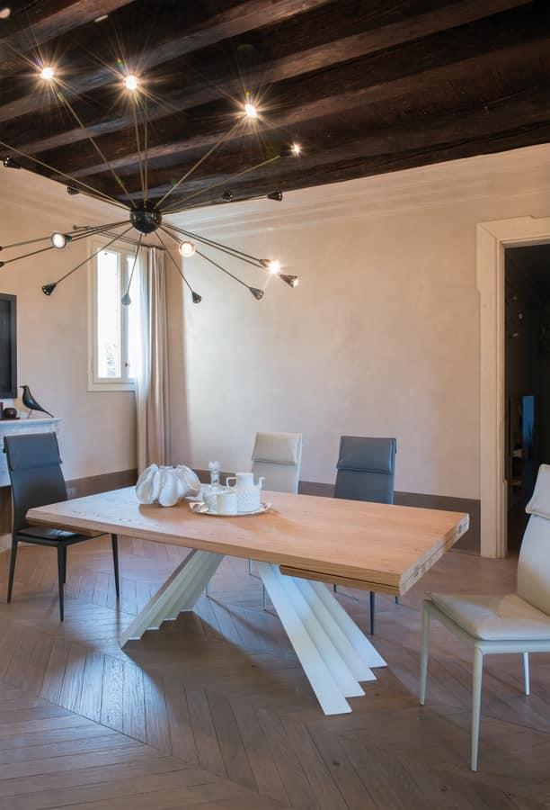 Tavolo da pranzo con piano in vetro nero base in metallo idfdesign - Tavoli da cucina design ...