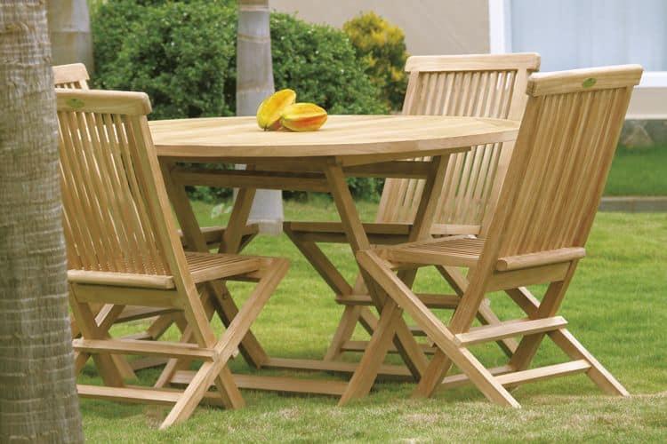 Tavolo da pranzo pieghevole da giardino rotondo in teak idfdesign - Tavolo pieghevole da giardino ...