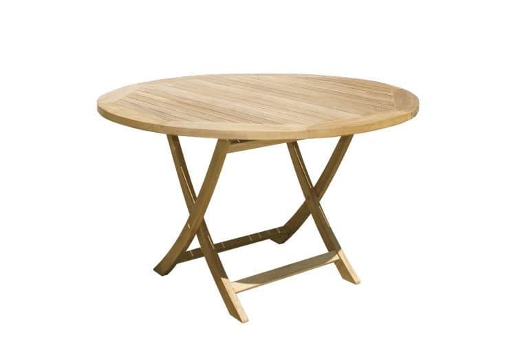 Tavolo da pranzo pieghevole da giardino rotondo in teak - Tavolo pieghevole da giardino ...