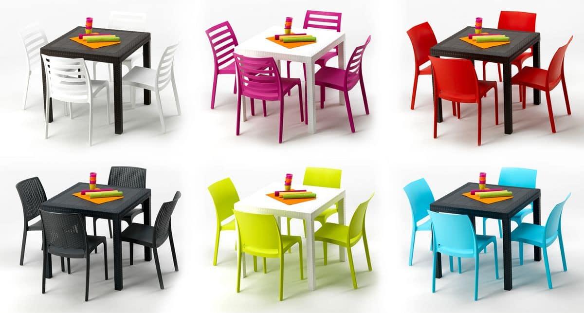 Set tavolo e sedie da giardino per esterni idfdesign - Fermatovaglia per tavoli di plastica ...
