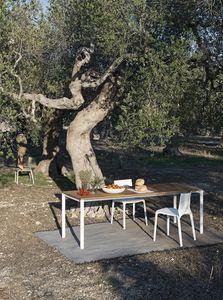Be-Easy slatted table, Tavoli con piano in legno di Teak