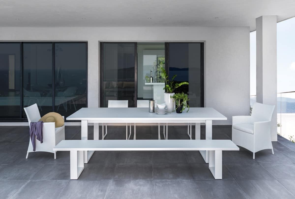 Tavolo da pranzo in alluminio per esterno idfdesign - Tessuti da esterno ikea ...