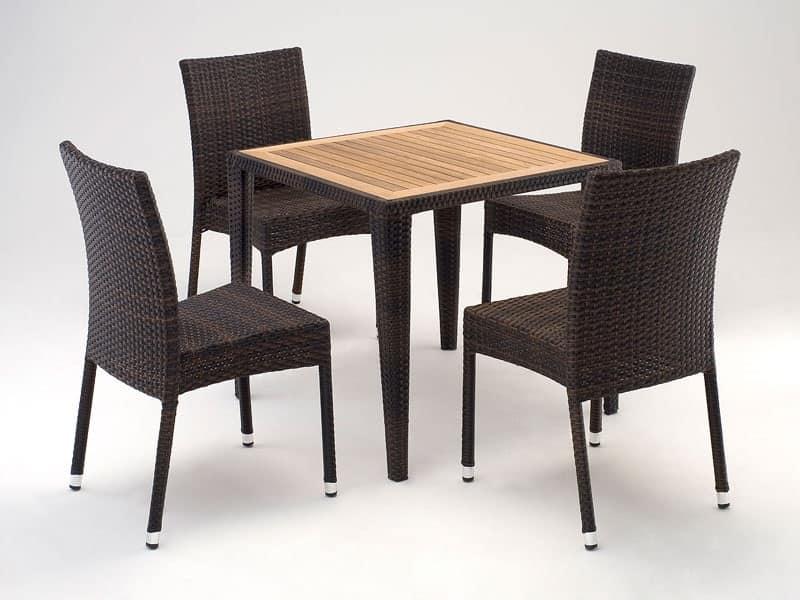 Set arredo con gamba conica per esterno e terrazza for Tavoli da arredo