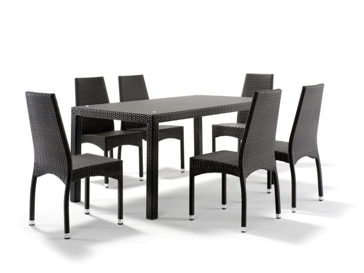 Tavolo in alluminio intrecciato con piano in vetro for Tavolo in alluminio