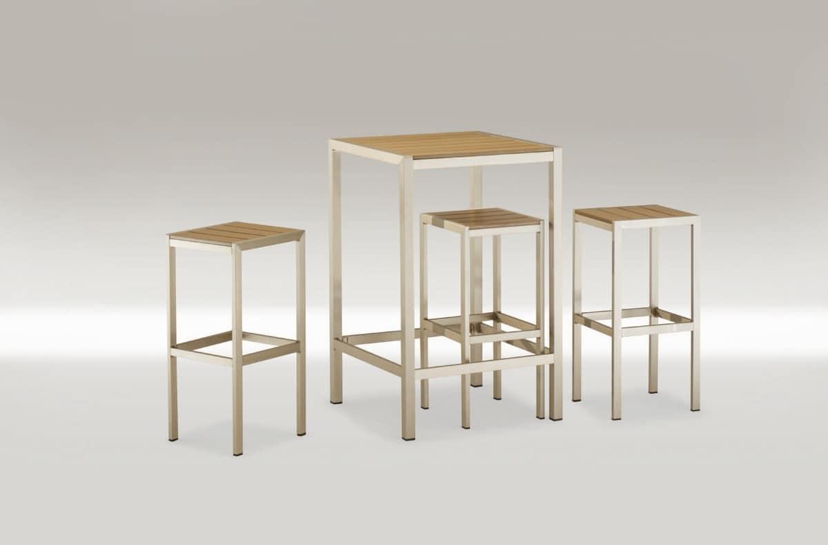 Tavolo quadrato alto in alluminio e tecno legno idfdesign - Tavoli in alluminio per esterni ...