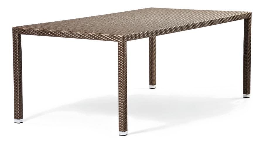Tavolo in alluminio rivestito da intreccio per giardini idfdesign