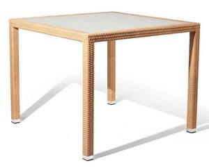 Lotus tavolo 1, Tavolo in fibra intrecciata e alluminio, per zone marine