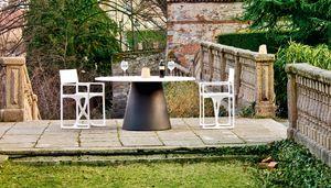 Loulou 70 large, Tavolo tondo da esterno, anche con piano in legno