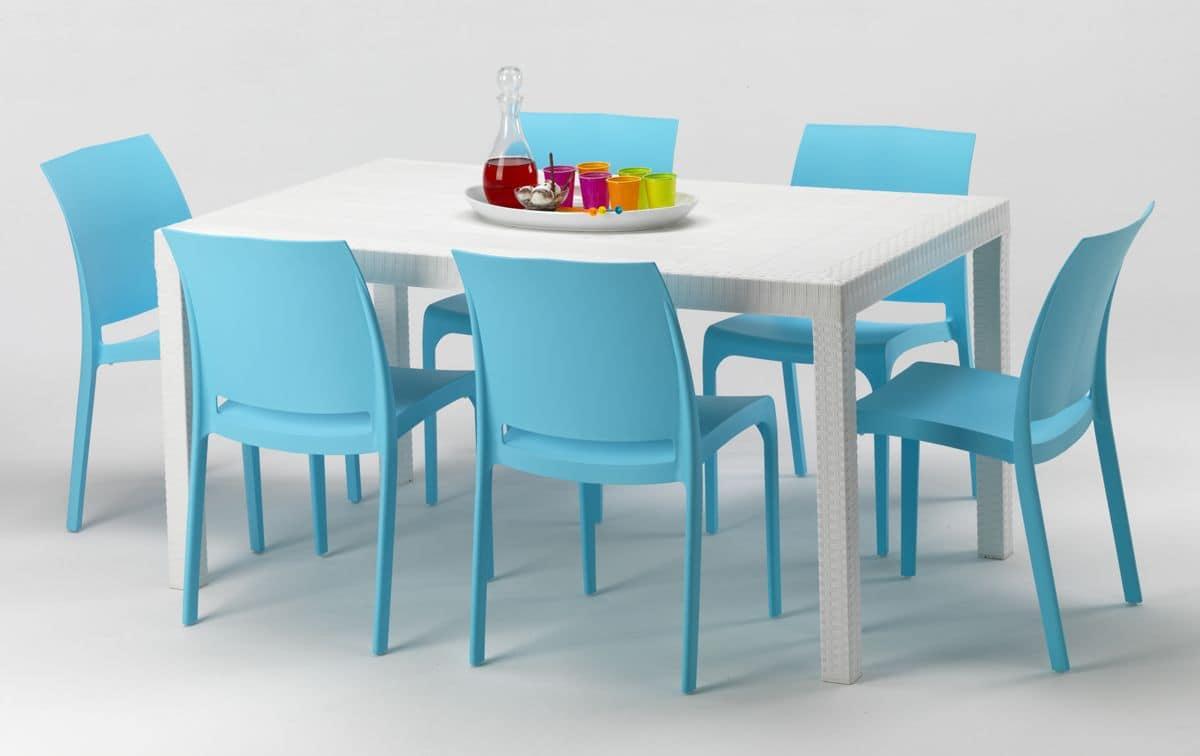 Or156set tavolo in plastica per esterni sedie in resina - Sedie da giardino in plastica ...