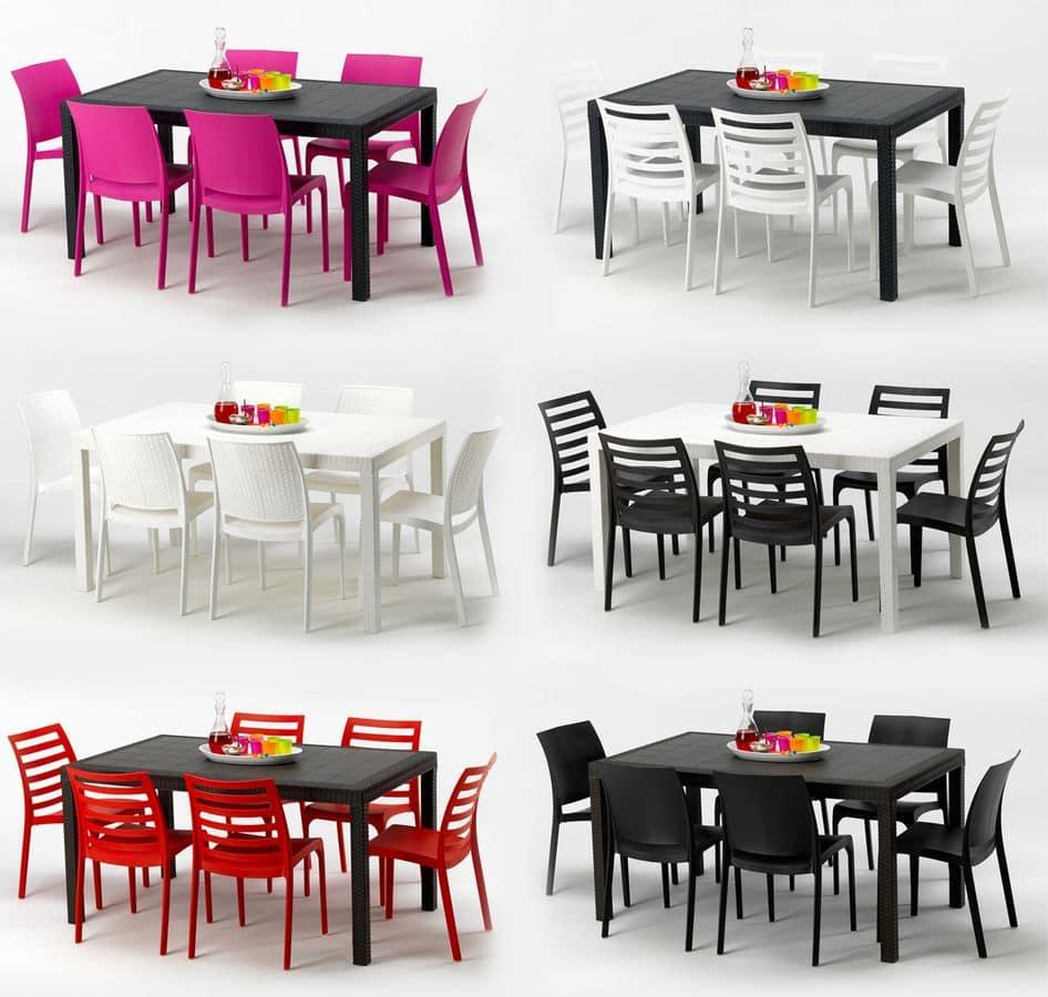 Tavolo in plastica per esterni sedie in resina da - Mobili in plastica per esterni ...
