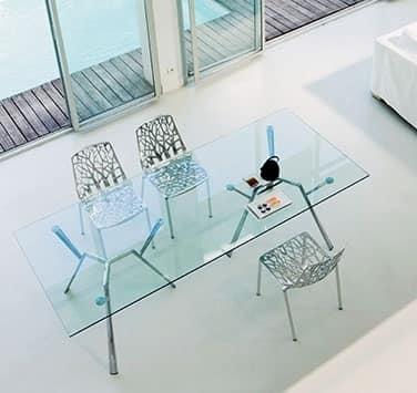 Tavolo con 6 gambe in alluminio e piano in cristallo - Tavolo con radice ...