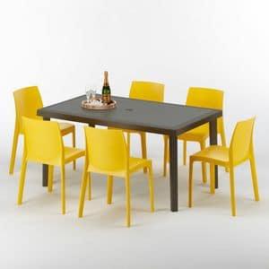 Set giardino esterno tavolo e sedie – S7050SETMK6, Tavolo per esterni, in rattan, fatto in polyrattan