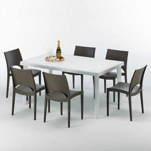Set made in Italy esterno giardino tavolo - S7050SETB6, Tavolo rettangolare in rattan sintetico, per esterni