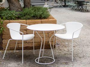 Solea tavolo tondo, Tavolo da esterno con base tonda metallica