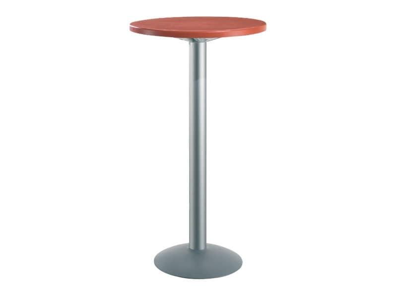 Tavolo Ø 60 h 110 cod. 08/BT, Tavolino alto rotondo per bar, piano in tecnopolimero
