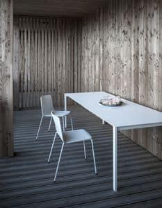 Thin-k Longo Outdoor, Tavolo design con piano esteso e sottile, per esterno