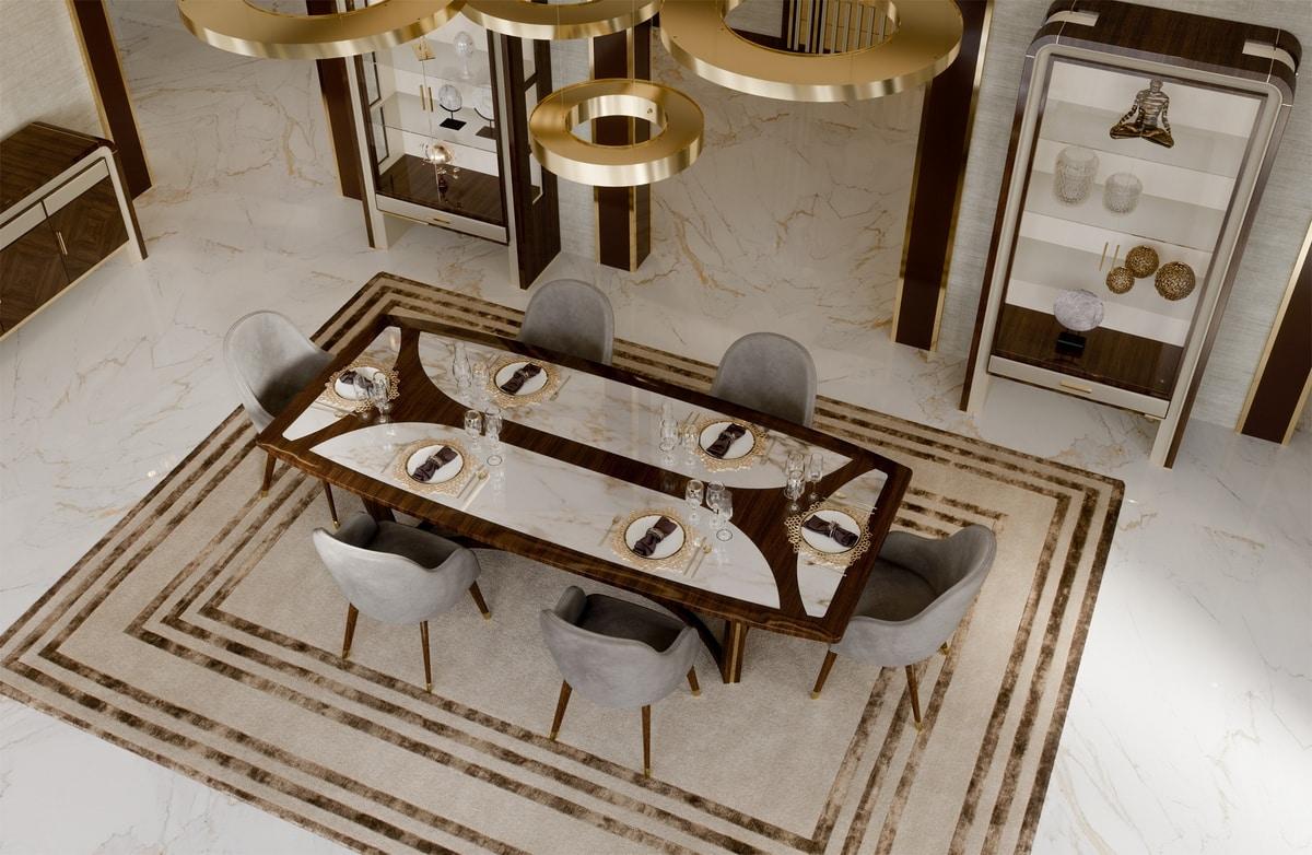 ART. 3328, Tavolo con piano in marmo Calacatta