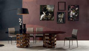 BIG COLOSSEO, Tavolo fisso con doppia base in legno massello tonda