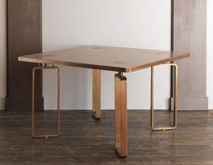 DOMINO HF2076TA, Tavolo da pranzo in legno con decori in ottone
