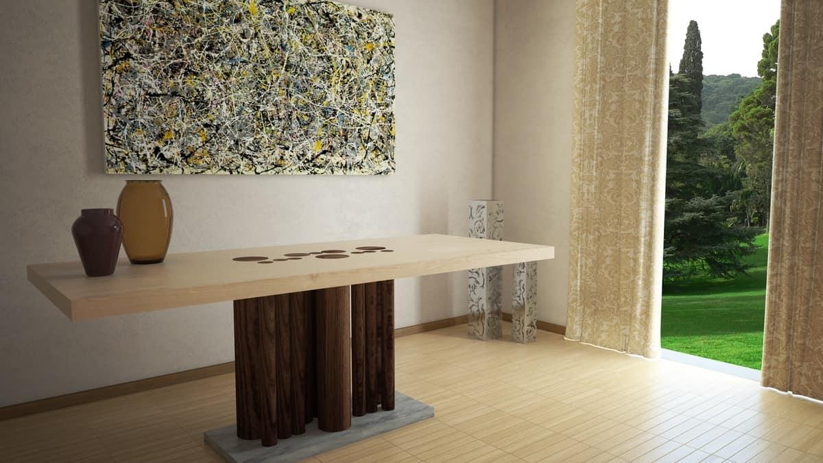 Tavolo da pranzo rettangolare in legno, con base rivestita in pietra ...
