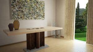Forest, Tavolo da pranzo rettangolare in legno, con base rivestita in pietra