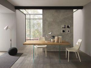 Meridiano, Tavolo da pranzo con piano in legno e gambe in vetro