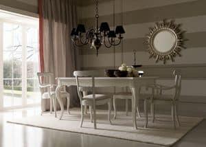 Mos� 434 tavolo, Tavolo con piano intarsiato, per sala da pranzo