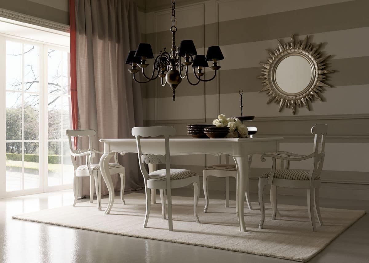 Tavolo con piano intarsiato per sala da pranzo idfdesign - Piantana per tavolo da pranzo ...