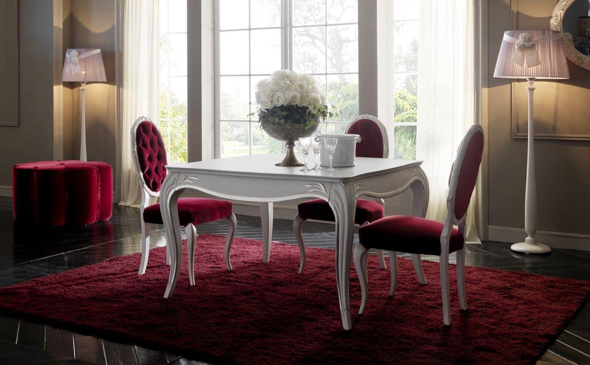 Tavolo da pranzo in legno stile classico piano quadrato for Tavoli pranzo legno