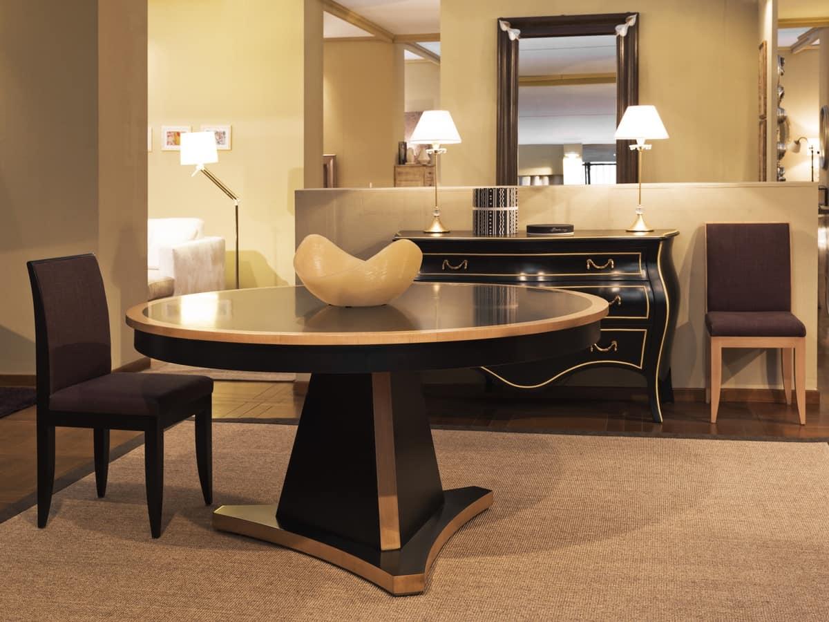 Tavolo con piano tondo laccato nero idfdesign for Amazon tavoli da pranzo