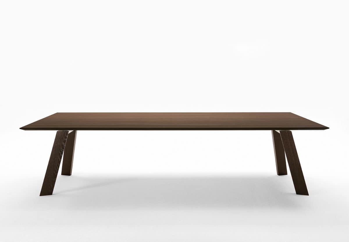 Tavolo rettangolare in legno per la cucina e il soggiorno - Tavoli da cucina in legno massello ...