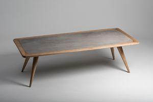 Vertigo tavolo da pranzo, Tavolo in legno naturale, con piano in cemento porcellanato