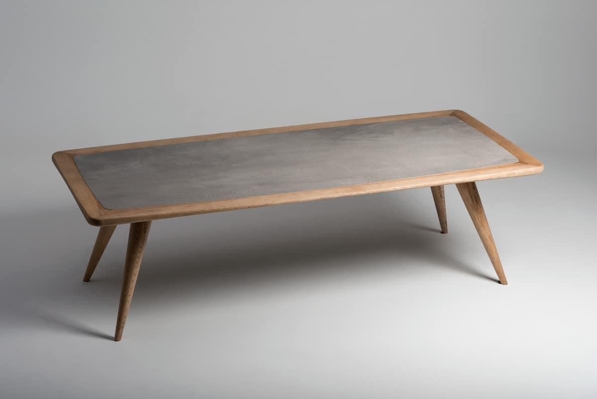 Tavolo in legno naturale con piano in cemento for Tavolo da pranzo legno