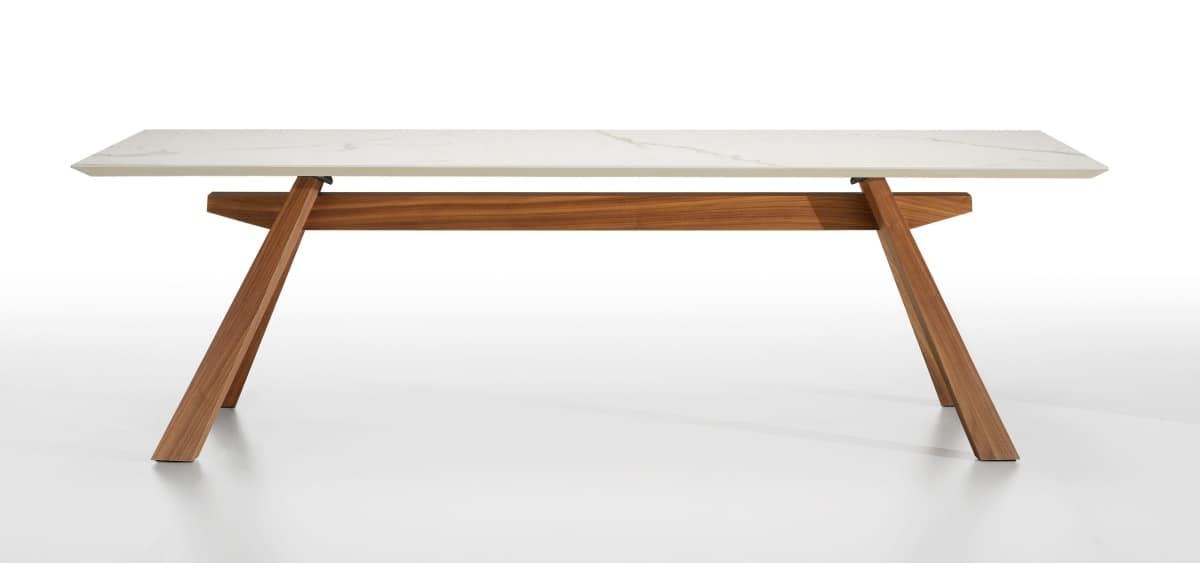 Tavolo in legno con piano in marmo idfdesign for Tavolo marmo design