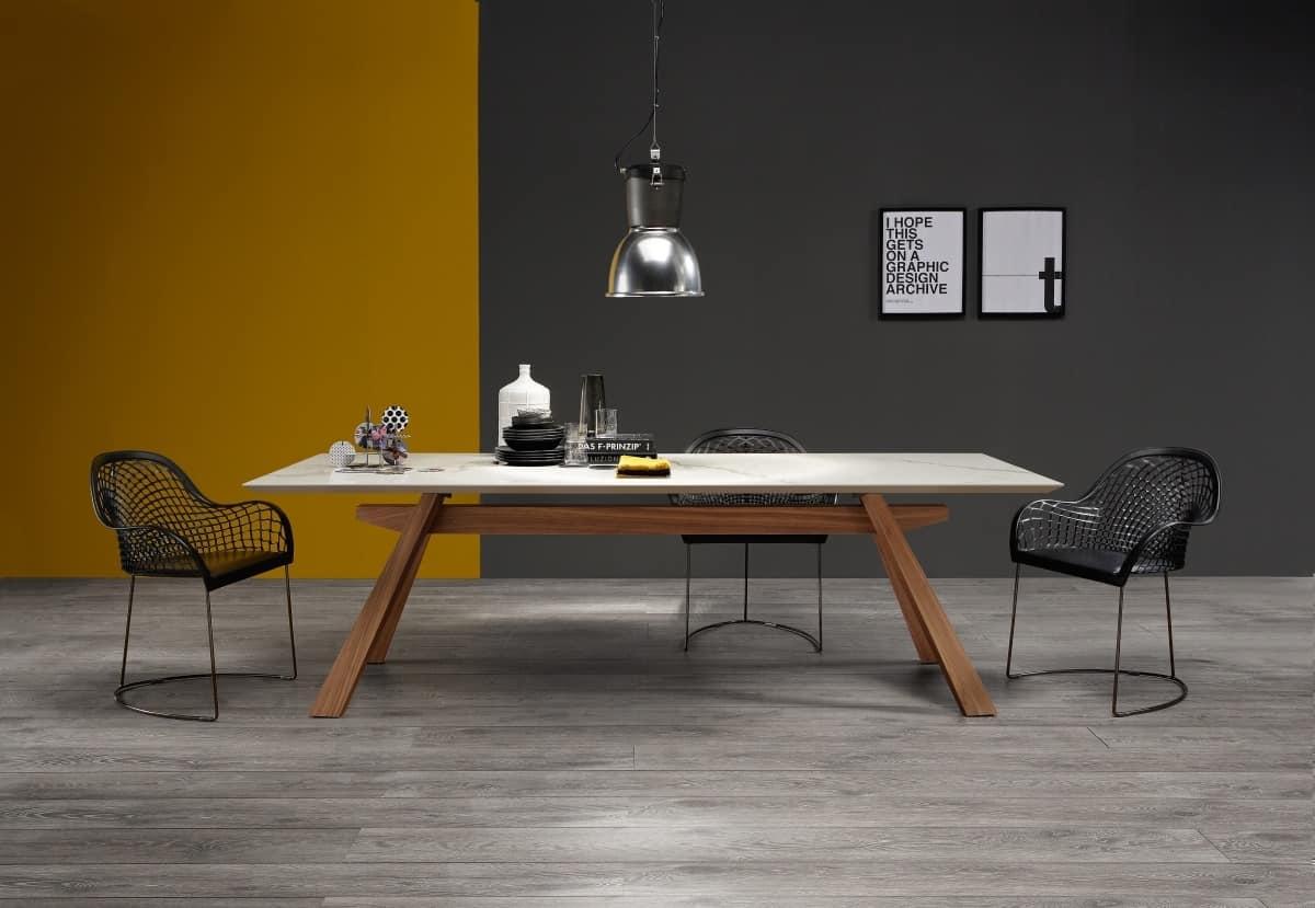 Tavolo in legno con piano in marmo idfdesign - Tavoli da pranzo di design ...