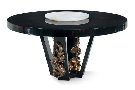 Tavolo tondo in legno d 39 ebano con intagli artigianali for Tavolo tondo legno