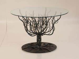 Arbore, Tavolo con struttura a rami d'albero, ferro battuto, da esterno