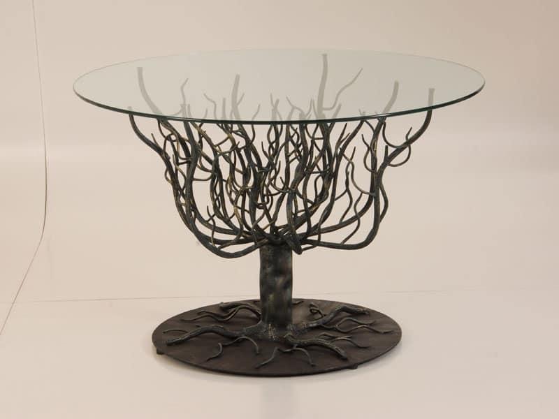 Tavolo con struttura a rami dalbero ferro battuto da esterno