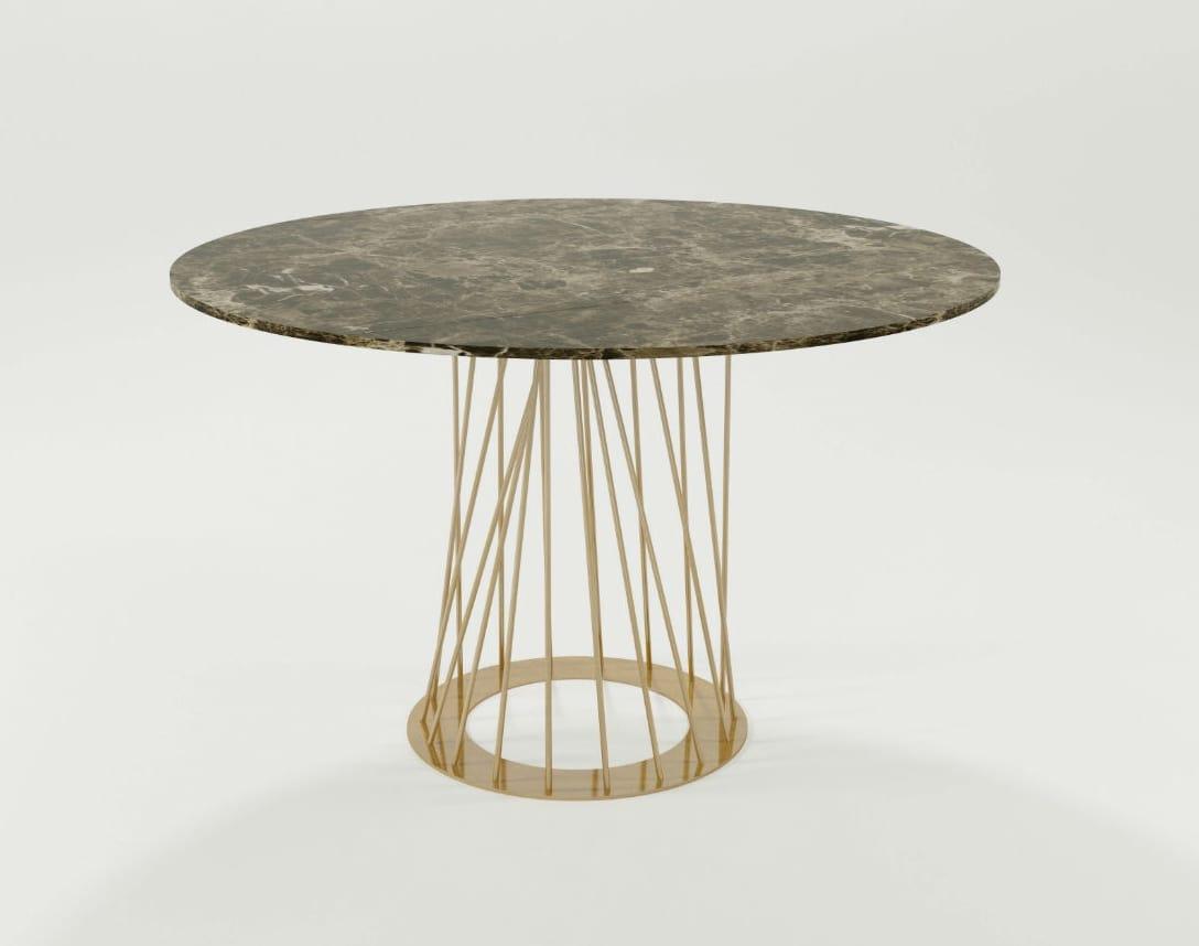 Tavolo con base in ferro e piano tondo idfdesign