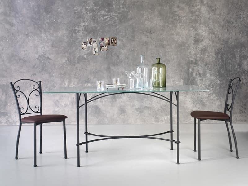 Tavolo rettangolare in metallo piano in vetro idfdesign for Tavoli di design in ferro