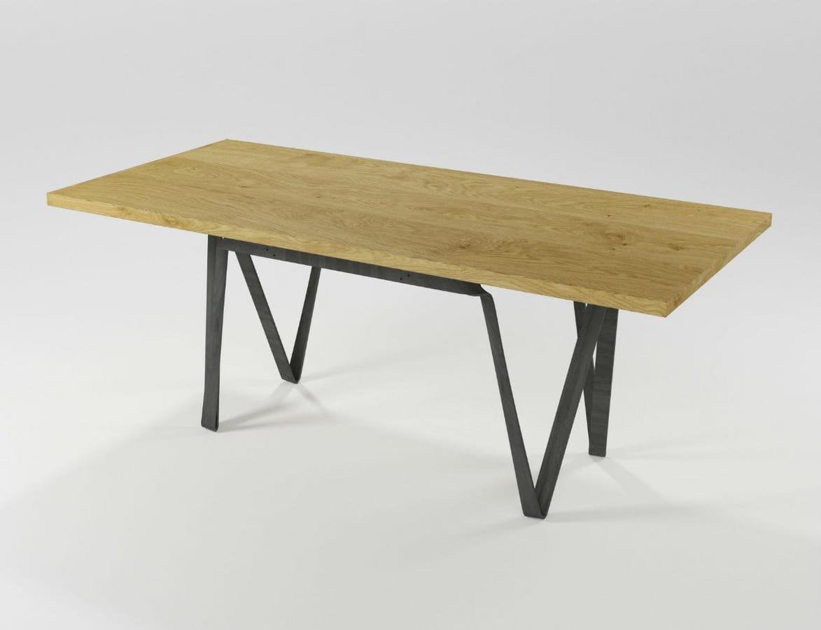 Tavolo rettangolare in ferro e legno | IDFdesign