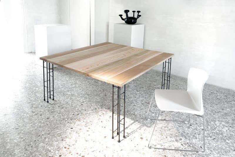 Tavolo alegante in metallo piano in legno per ristorante - Tavolo ferro battuto e vetro ...