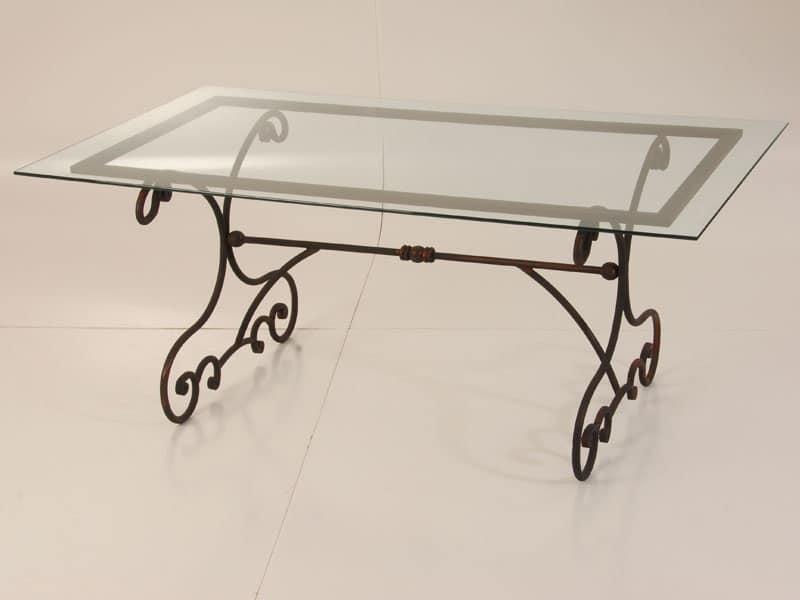 Tavolo da esterno in ferro con piano in vetro idfdesign - Tavoli da pranzo ferro battuto e vetro ...