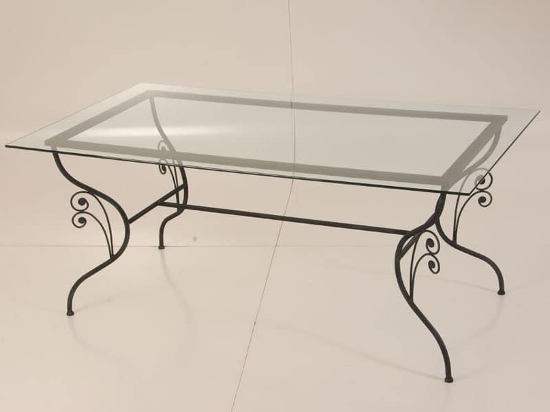Tavolo in ferro battuto, piano in vetro, per uso esterno | IDFdesign